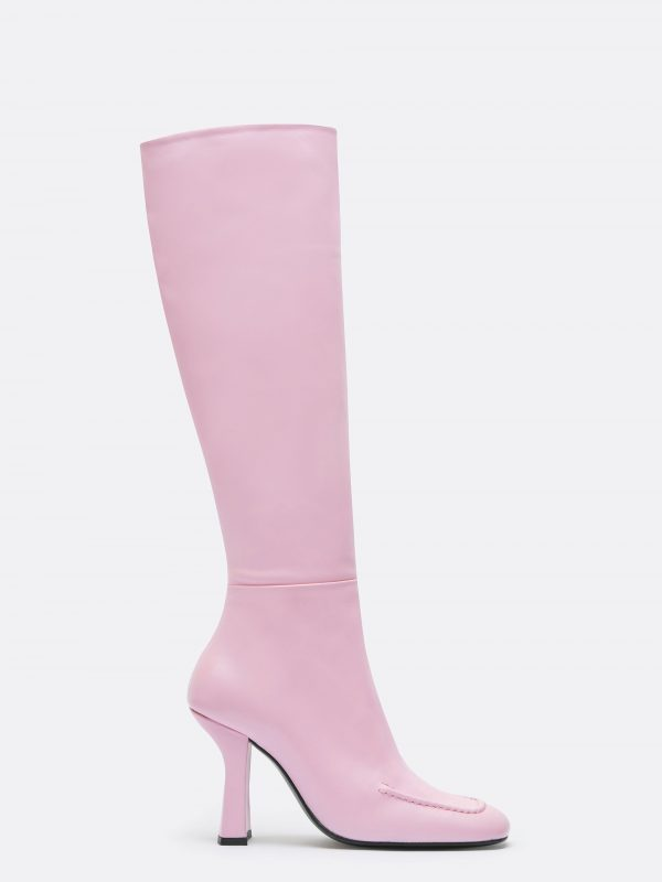 designer leather pink high boot