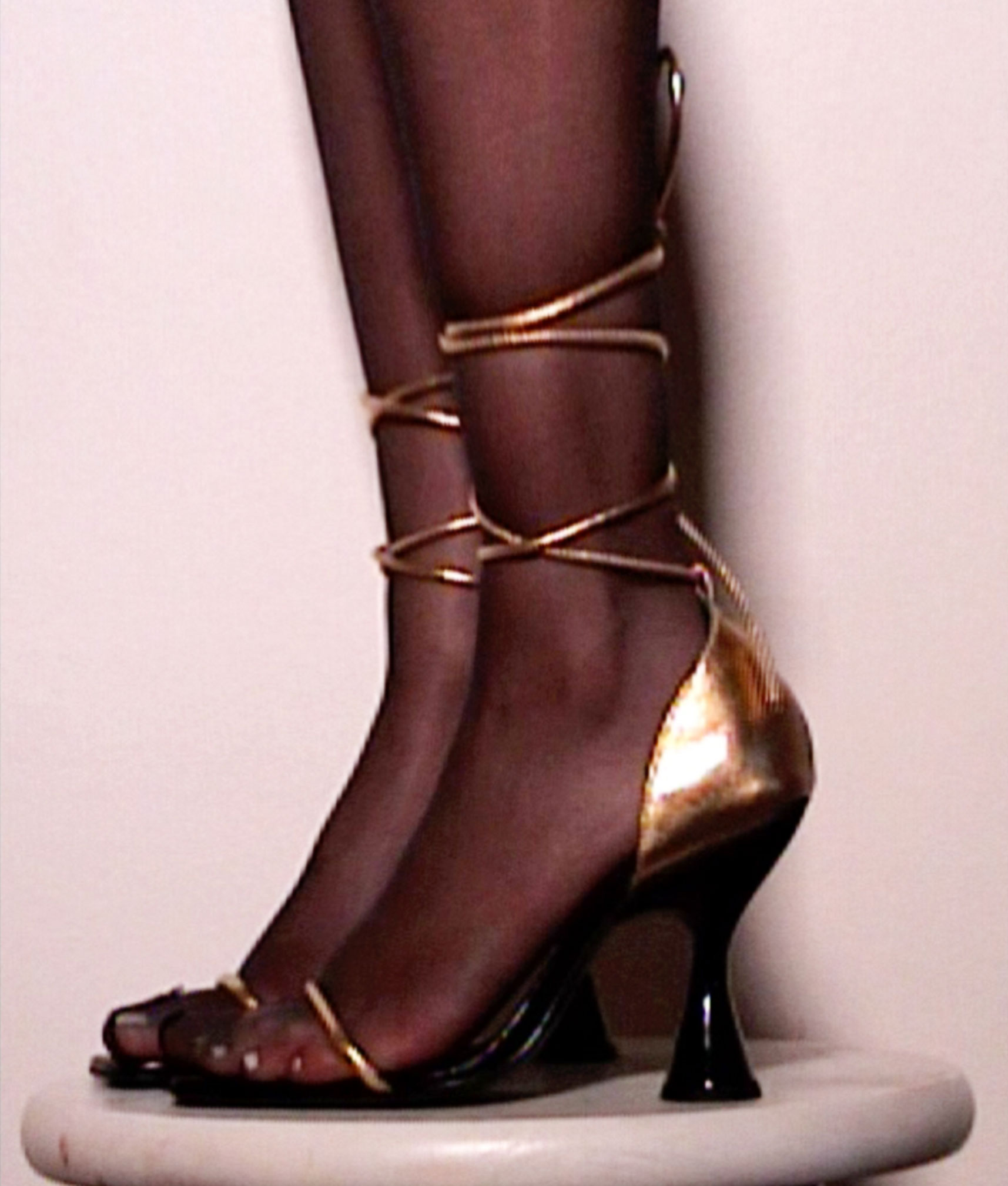 Stainless Ankle Strap Sandal by Nadia Lee Cohen