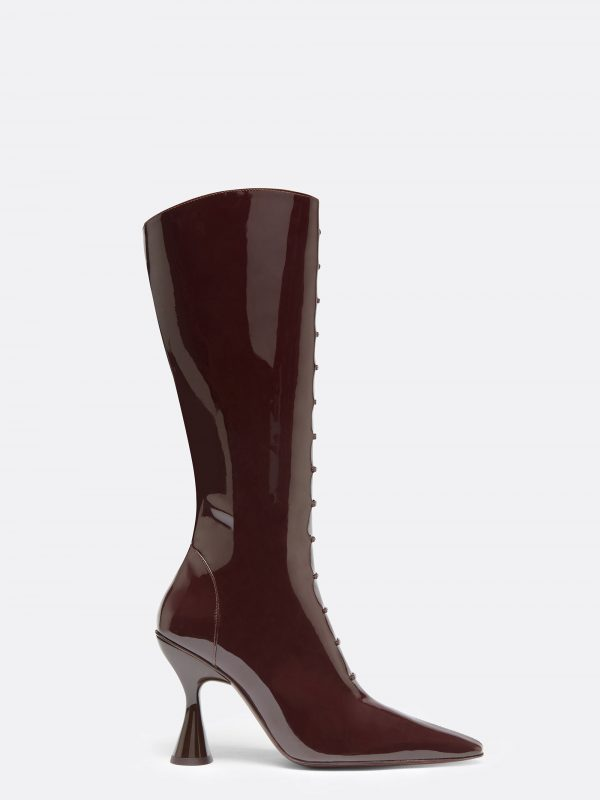Stainless Trompe L'oeil Lace Up Boot Burgundy