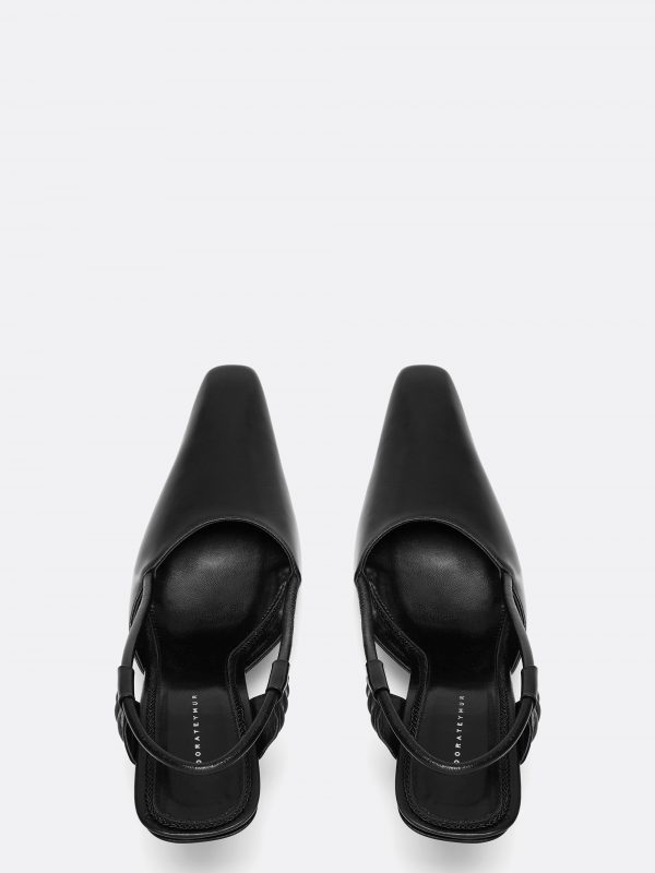 Stainless Slingback Black Leather