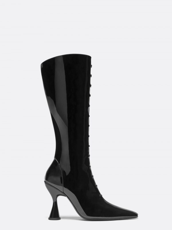 Stainless Trompe L'oeil Lace Up Boot Black