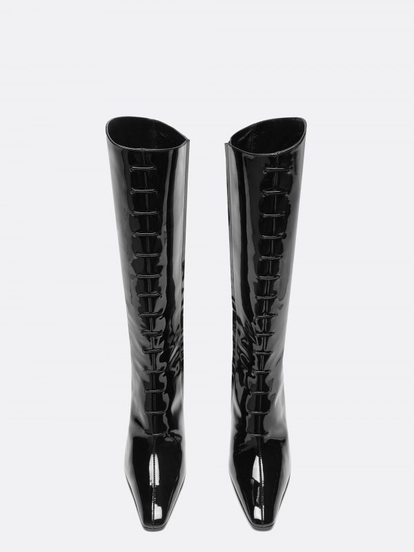 Stainless Trompe L'oeil Lace Up Boot Black by Dora Teymur
